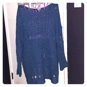 Royal Blue Destroyed Tunic Sweater